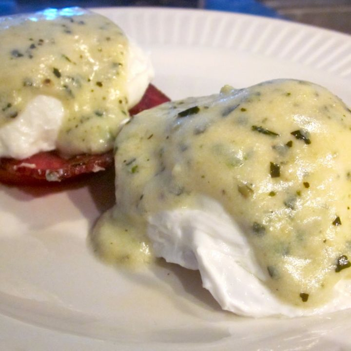 Poached Eggs with Parmesan Pesto Sauce and Turkey Bacon