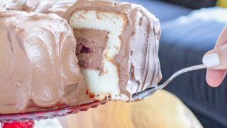 Angel Food Cake with Whipped Chocolate Frosting