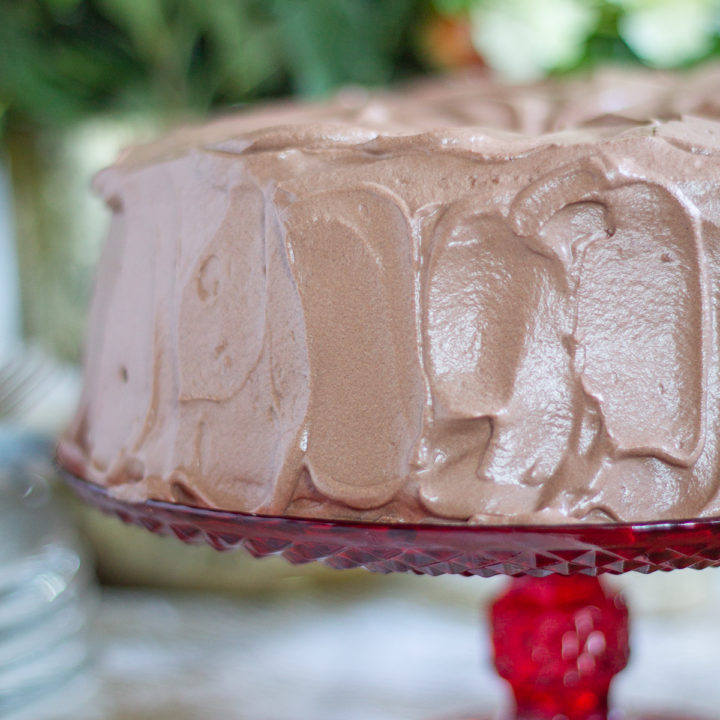 Angel Food Cake with Whipped Chocolate Frosting | ThisAngel Food Cake with Whipped Chocolate Frosting is light as a cloud. The frosting is made with freshly whipped cream and plenty of cocoa for a rich chocolate taste. This is a simple recipe my family has been making for decades. #cake #dessert
