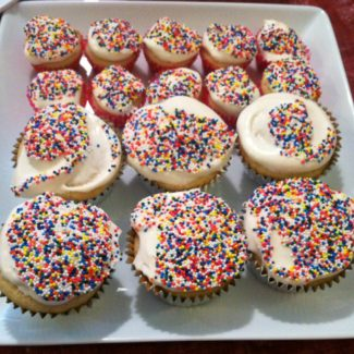 Vanilla Cupcakes with Whipped Frosting