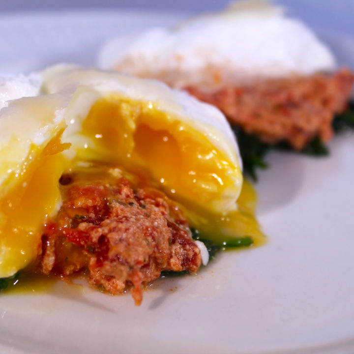 Poached Eggs with Marinara and Spinach