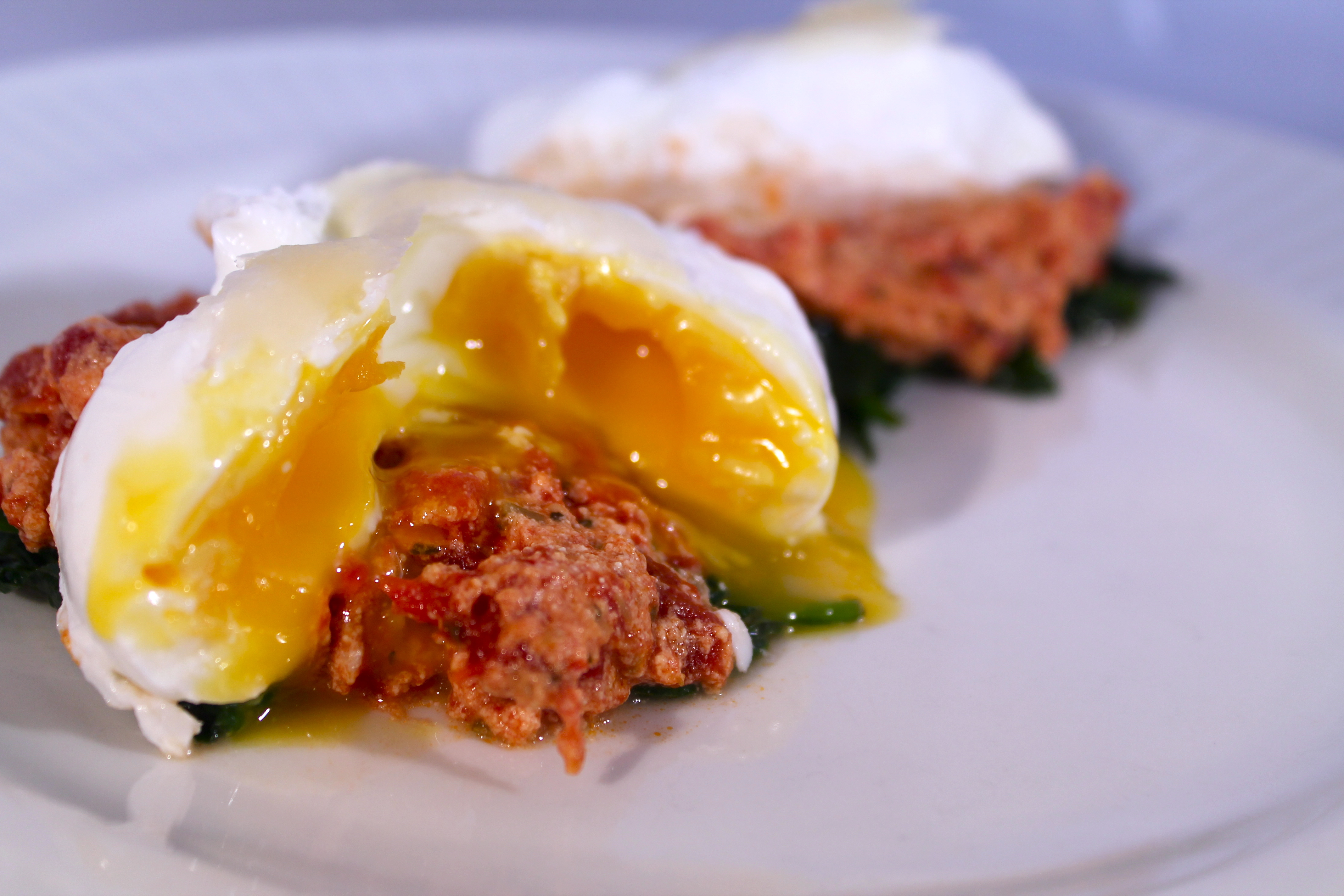 Poached Eggs with Marinara and Spinach - thekittchen