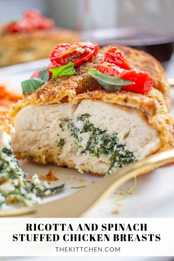 Ricotta and Spinach Stuffed Chicken Breasts | Learn how to make crispy crunchy chicken breasts filled with spinach and ricotta. This pairs well with roasted tomatoes!