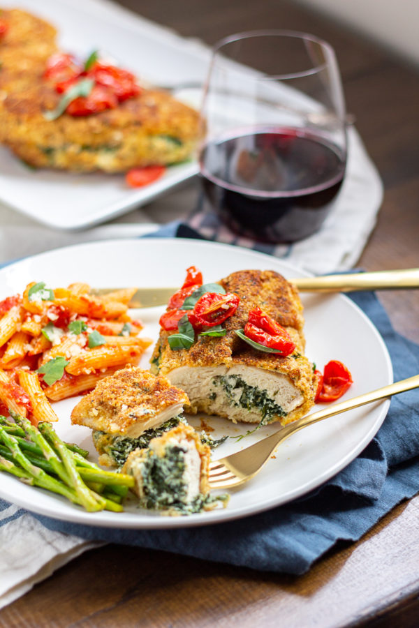 Ricotta and Spinach Stuffed Chicken Breasts | Crispy breaded chicken filled with spinach and ricotta