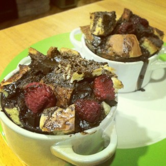 Dark Chocolate Raspberry Bread Puddings for Two