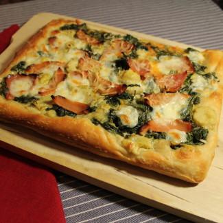 Ham Spinach and Artichoke Pizza