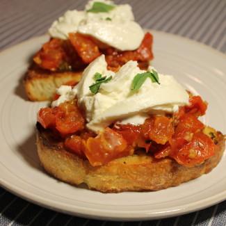 Roasted Tomato and Burrata Bruschetta