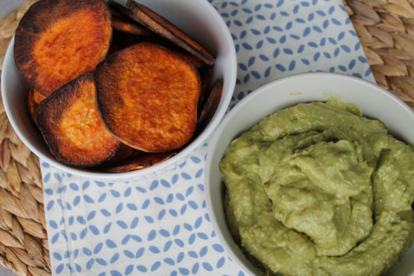 avocado pine nut puree with sweet potato chips