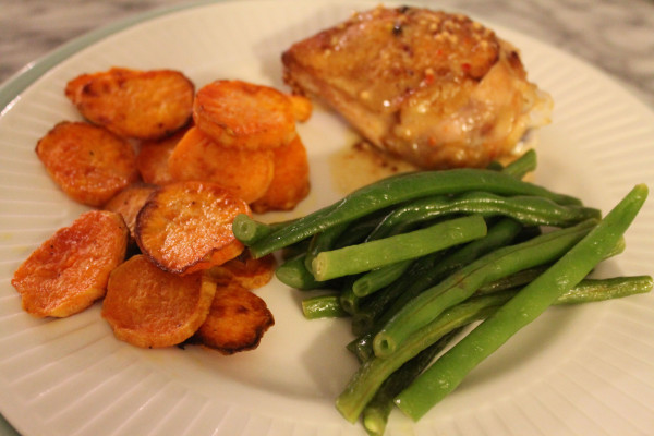 Maple Roasted Sweet Potatoes with chicken thighs cooked with a sweet ...