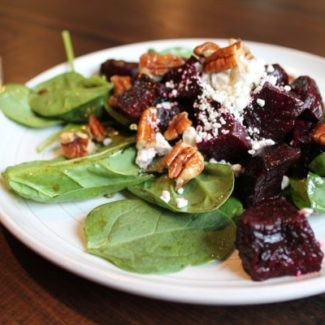 Roasted Beet, Spinach, and Goat Cheese Salad