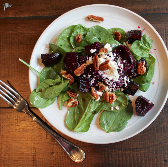 Roasted Beet, Spinach, and Goat Cheese Salad with Maple Glazed Pecans ...