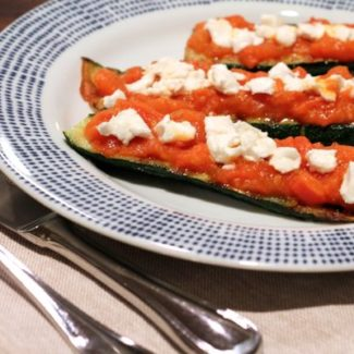 Grilled Zucchini with Tomato and Goat Cheese