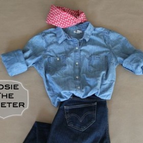 Rosie the Riveter with text