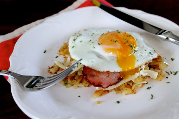 Potato Hash with Sunny Side Up Eggs