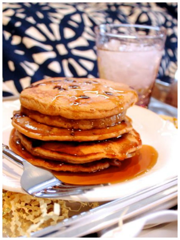 Irish Cream Chocolate Chip Pancakes - dessert meets breakfast with this treat.