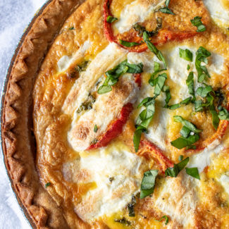 Roasted Tomato, Mozzarella, and Spinach Quiche Recipe