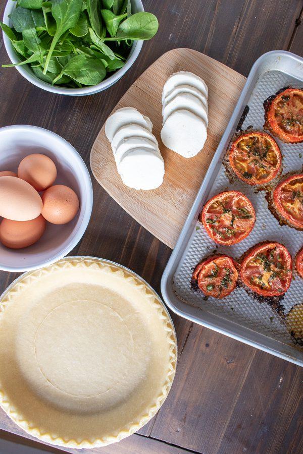 Roasted Tomato Mozzarella and Spinach Quiche Recipe