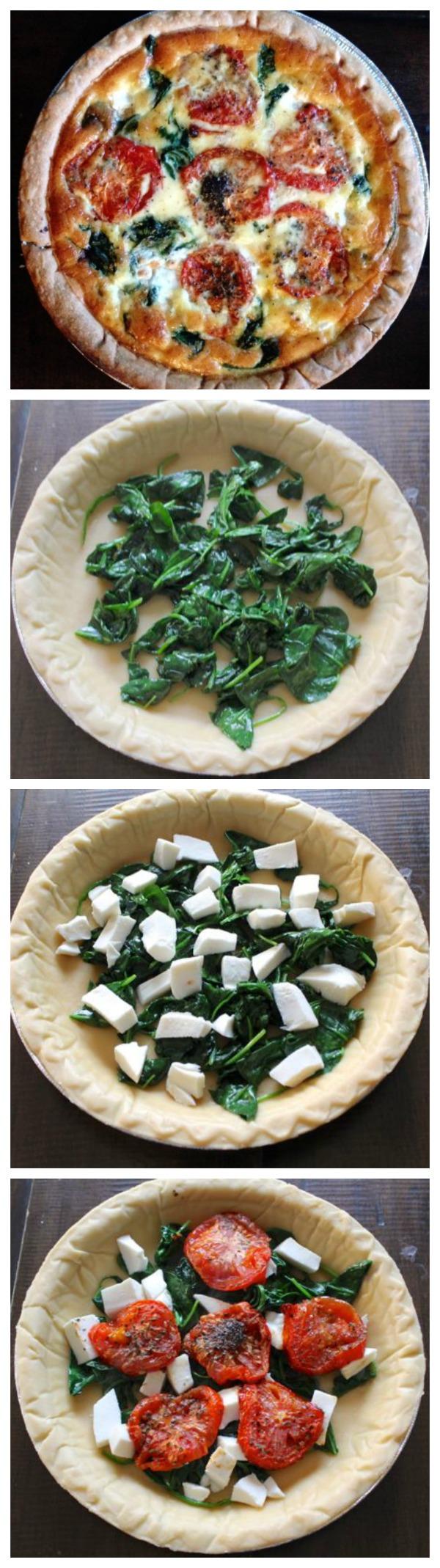 Roasted Tomato, Mozzarella, and Spinach Quiche Recipethekittchen