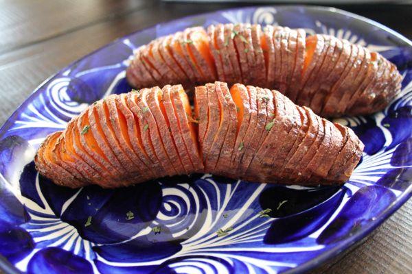 Sweet and Salty Hasselback Sweet Potatoes