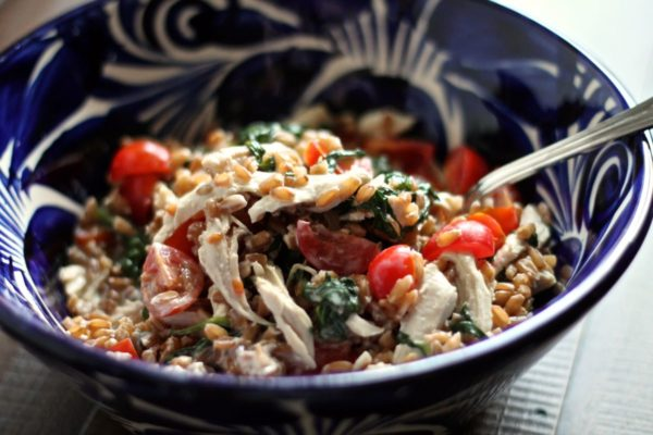 Farro Salad with Goat Cheese, Chicken, and Spinach | via The Kittchen