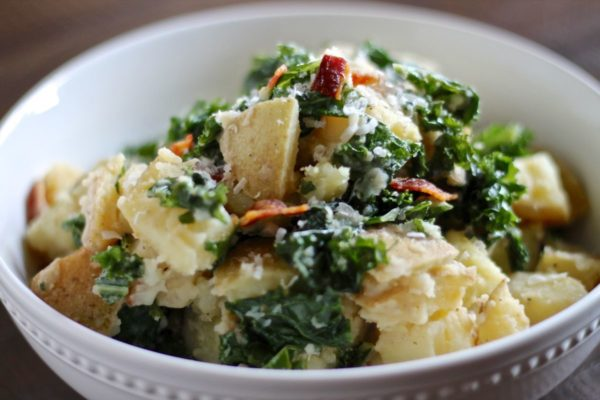 Kale Caesar Potato Salad with Bacon | via thekittchen.com