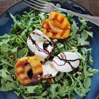 Grilled Peach, Mozzarella, and Arugula Salad