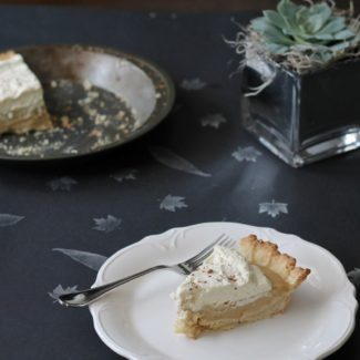 Bourbon Butterscotch Pie, a bourbon butterscotch pudding pie with a shortbread crust via The Kittchen