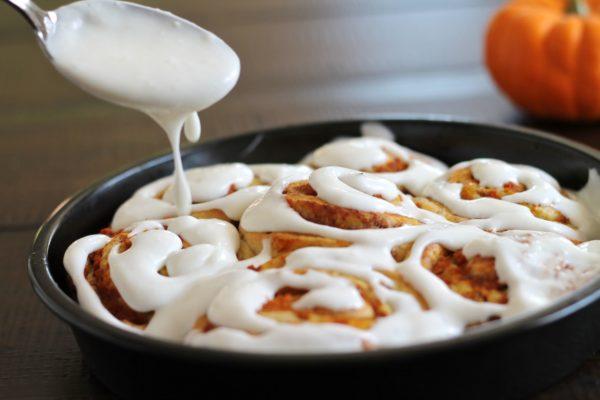 Frosting Pumpkin Cinnamon Rolls