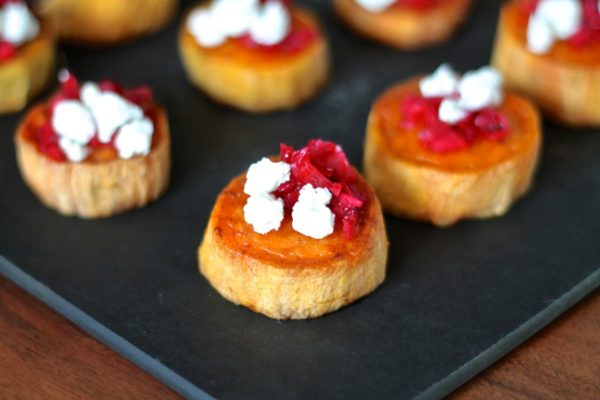 Cranberry, Goat Cheese, and Sweet Potato Bites a perfect appetizer for Thanksgiving, via The Kittchen