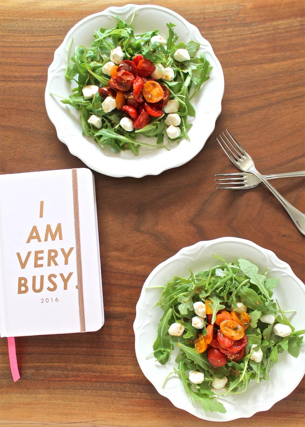 Roasted Tomato and Arugula Caprese Salad