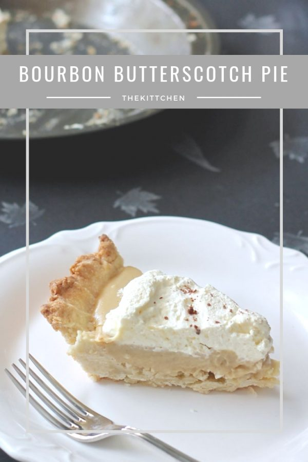 Bourbon Butterscotch Pie | This Bourbon Butterscotch Pie will become a new tradition at holiday meals. A rich butterscotch pudding pie with a kick of bourbon flavor in a simple shortbread crust is a treat your friends and family will love! #pie #thanksgiving