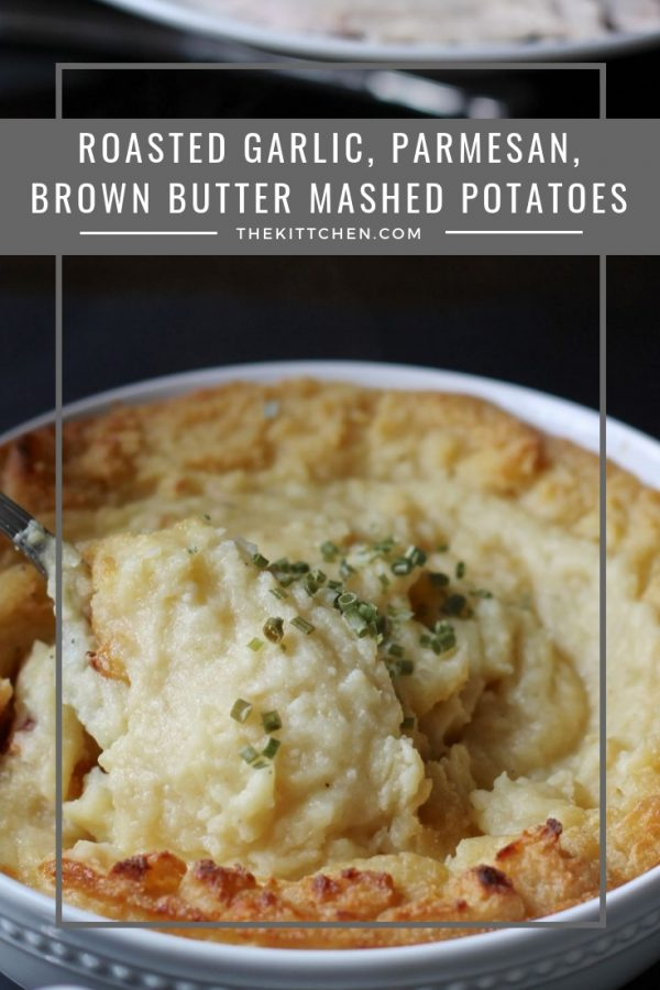 Roasted Garlic, Parmesan, Brown Butter Mashed Potatoes are rich, creamy, cheesy, and loaded with garlic flavor. They are a perfect #Thanksgiving side dish - plus they are easy to make. They can even be made a day or two in advance!