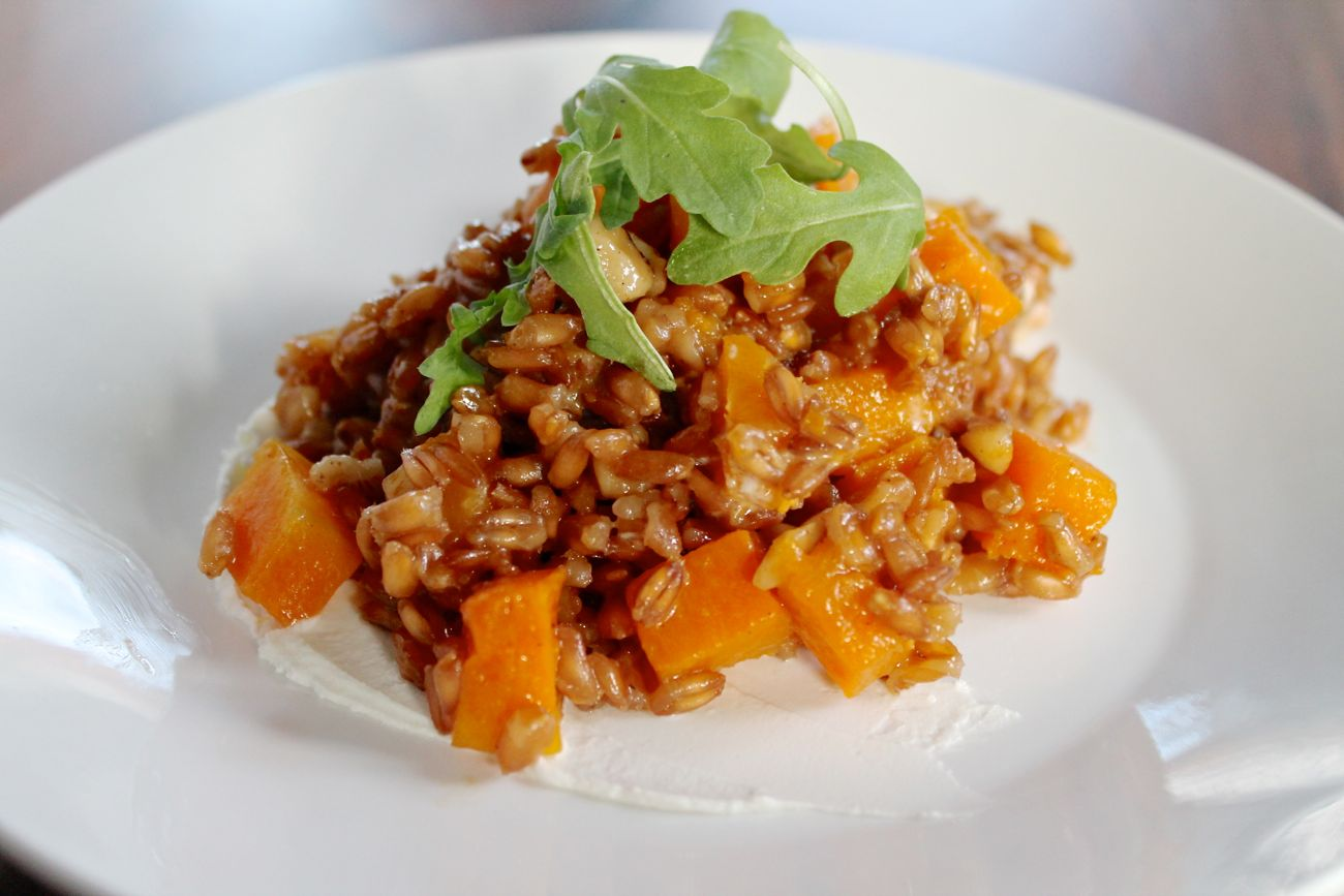 Farro and Butternut Squash Salad with Goat Cheese, Walnuts, and ...