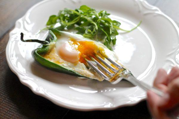 Eggs in Poblano Pepper Boats