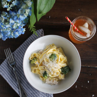 Lemon Goat Cheese Pasta with Rotisserie Chicken
