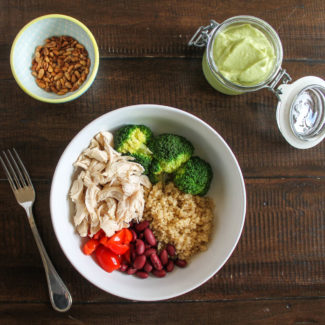Chicken Quinoa Bowl with Avocado Dressing