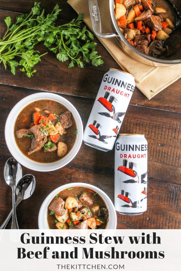 Guinness Stew with Beef and Mushrooms | A hearty stew recipe perfect for St. Patrick's Day