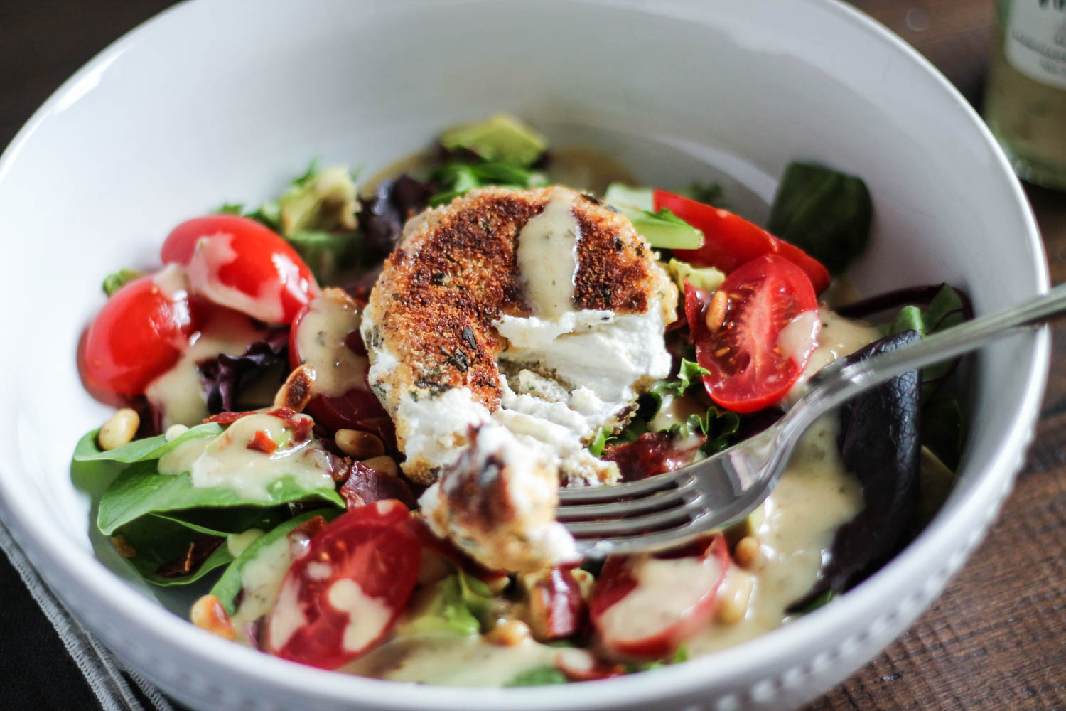 fried goat cheese salad dressing