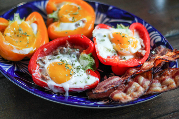 Sausage, Cheddar, and Sunny Side Up Egg Stuffed Bell Peppers-3