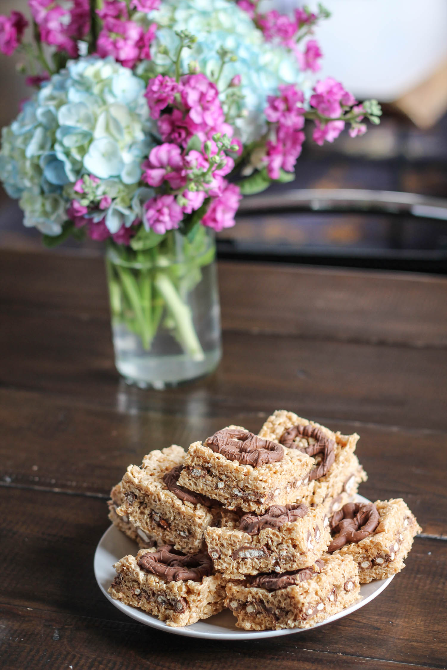Peanut Butter and Chocolate Pretzel Rice Krispie Treats-3