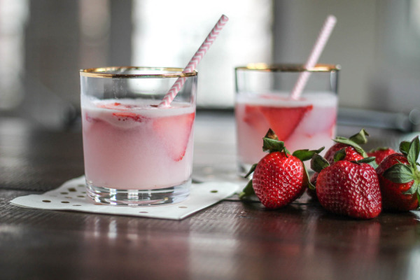 Strawberry White Wine Cocktail with Halo Top Ice Cream-7