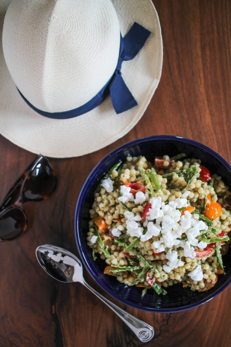 Couscous Salad with Pesto, Goat Cheese, and Veggies
