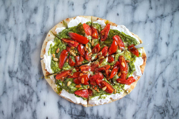 Naan and whipped feta pizza-7