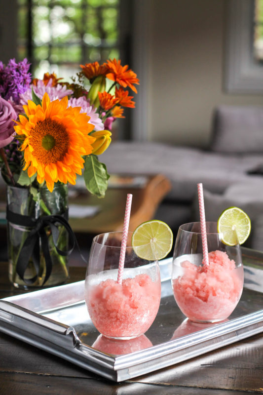 Strawberry Rosé Slushies, shared by The Kittchen at The Chicken Chick's Clever Chicks Blog Hop
