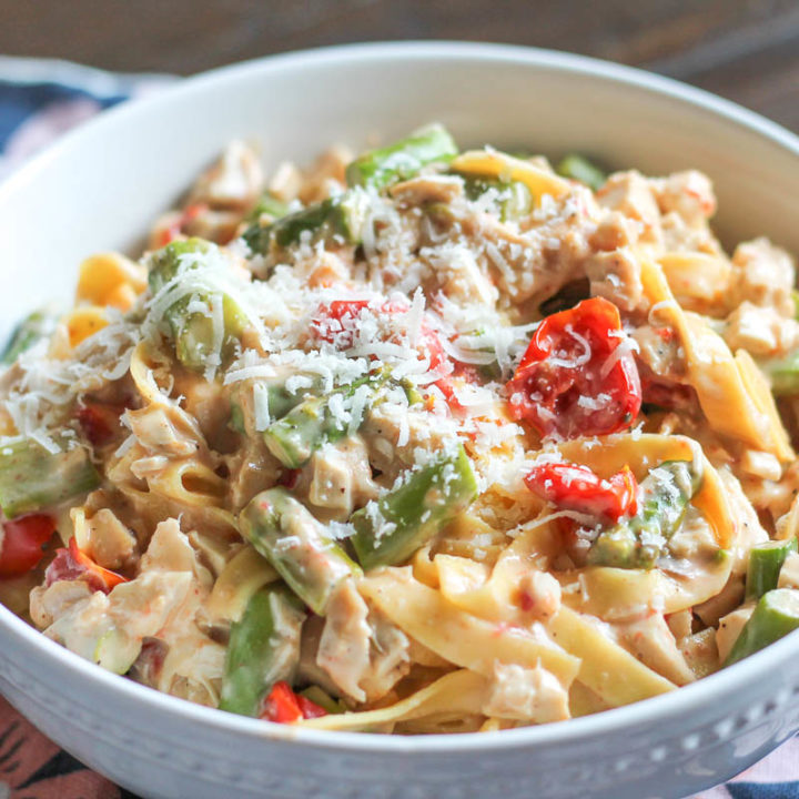 Roasted Vegetable, Chicken, and Goat Cheese Pasta