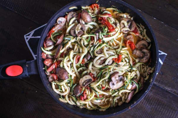 One Pan Zucchini Pasta with Veggie Sauce
