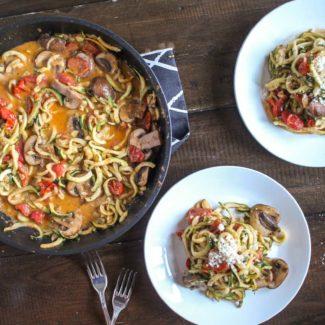 Zucchini Pasta with Creamy Pesto Tomato Sauce