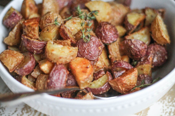 Crispy Parmesan Roasted Potatoes, shared by The Kittchen at The Chicken Chick's Clever Chicks Blog Hop