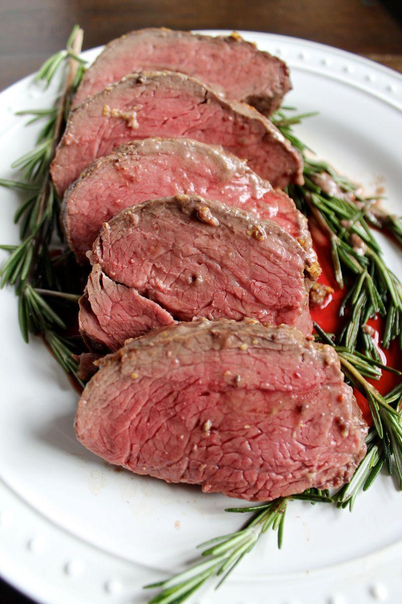 Christmas Roast Beef.Beef Tenderloin With A Red Wine Mushroom Sauce