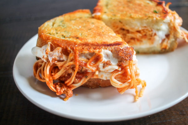 Spaghetti Grilled Cheese on Parmesan Garlic Bread